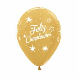 Globo Sempertex Infinity Feliz Cumpleaños Destellos Dorado