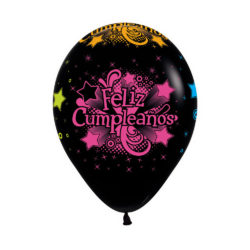 Globo Sempertex Infinity Feliz Cumpleaños Neón Negro