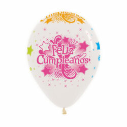 Globo Sempertex Infinity Feliz Cumpleaños Neón Transparente