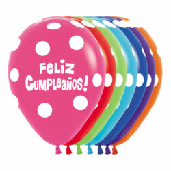Globo Sempertex Infinity Feliz Cumpleaños Polka Dots Surtido