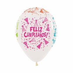 Globo Sempertex Infinity Feliz Cumpleaños Cristal Blanco Neón