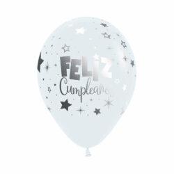 Globo Sempertex Infinity Feliz Cumpleaños Metalink Blanco